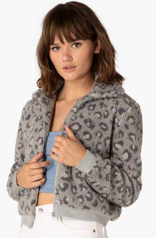 All time grey leopard sherpa bomber jacket