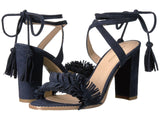 Faye fringe ankle wrap sandals in navy