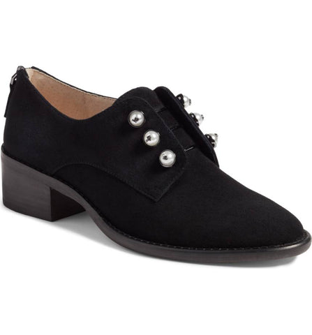 Fren back zip oxfords in black suede