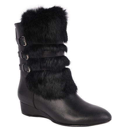 Fritzy nappa leather demi-wedge booties w/Fur Trim