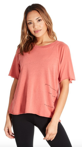 "The rowan short sleeve in rose  ""You only live once but if you do it right once is all you need"""
