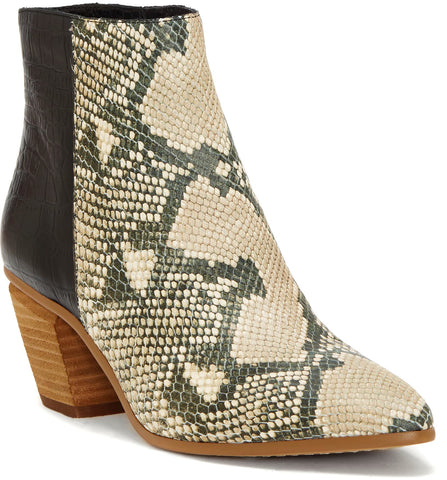 Grasem pointy toe stacked heels in natural snake