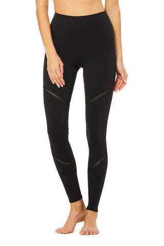 High waist continuity legging in black/black