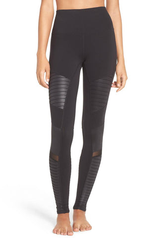 High waisted moto legging in black