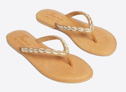 Camel havana shell sandals