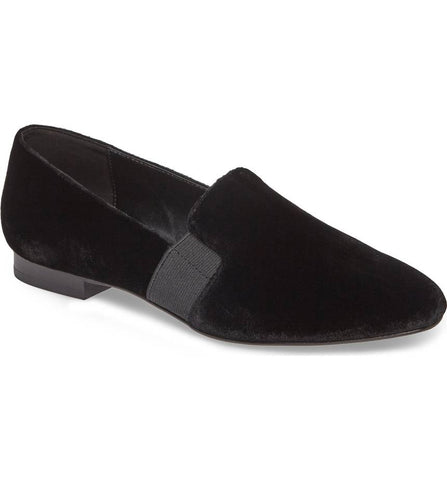Helga black velvet loafers