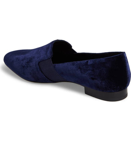 Helga midnight blue velvet loafers