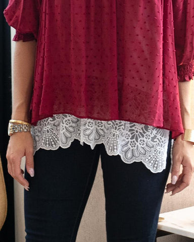 High-low lace top extender in ivory