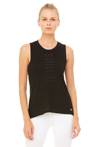 High low graphic muscle tank in black within you