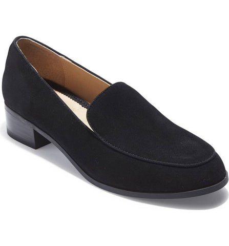 Jazzy black suede loafer with a lift