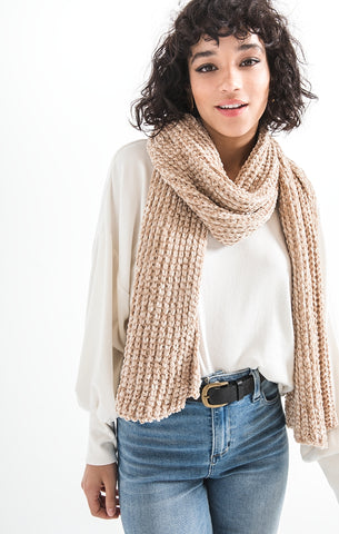 Jeanie oblong chenille scarf in antique cream