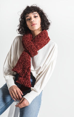 Jeanie oblong chenille scarf in fired brick
