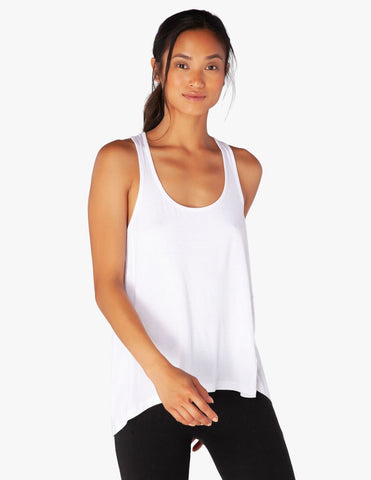 Draw the line tie back tank in white