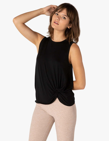 Twist goodbye muscle tank in black