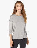 Draw the line tie back pullover in heather grey