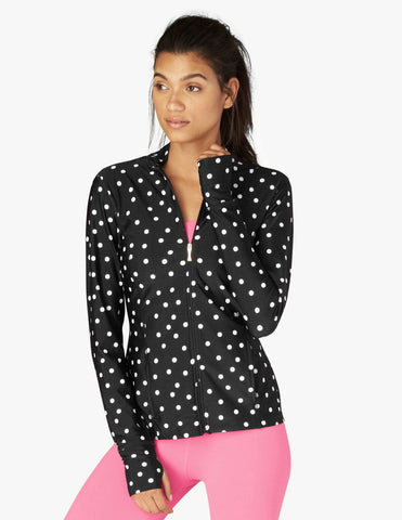 Madison bow jacket in B/W dancing dots