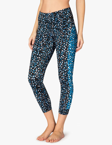 High waisted lux droplets ladder midi legging