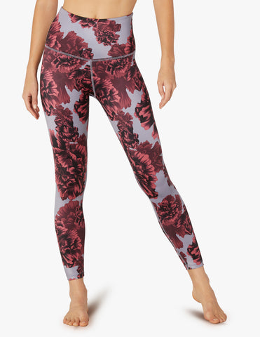 Lux scarlet peony floral high waisted midi leggings