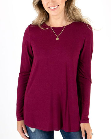 Long sleeve perfect crew neck tee in winterberry