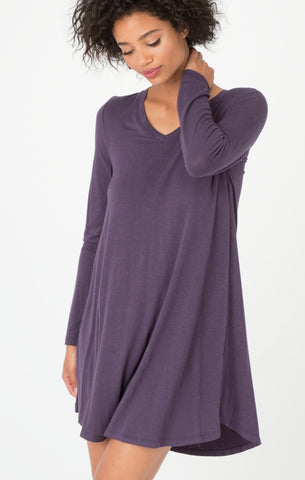 Long sleeve breezy dress in plum