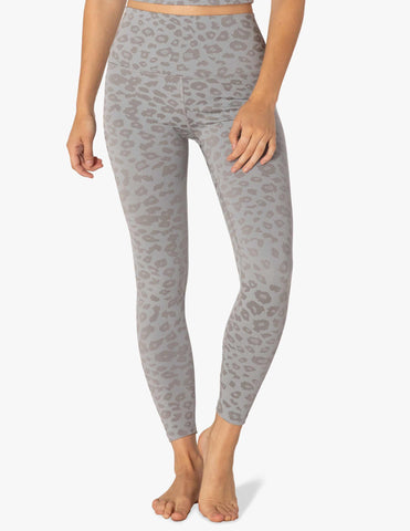 Leopard jacquard high waisted midi leggings in grey