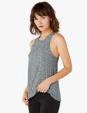 Lightweight crossed back tank in black/white