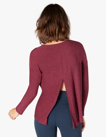Draw the line tie back pullover in bold burgundy