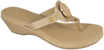 Lexi gold wedge flip flops