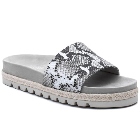Libby snake print leather sandals in black/white