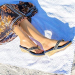 Yoga Lynne navy wedge flip flops