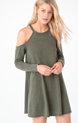Long sleeve cold shoulder dress in rosin