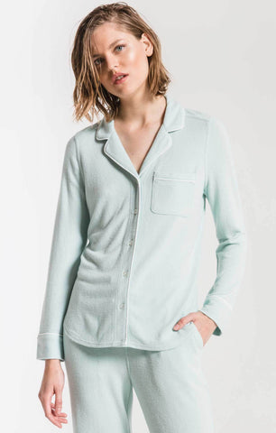 Luxe menswear pajama set in mint haze