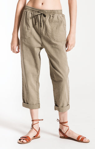 Marina cropped drawstring boyfriend pants in vert olive