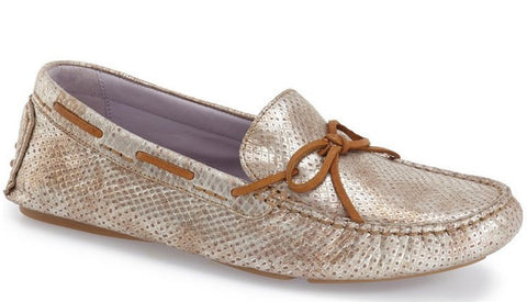 Maggie camp champagne snake print leather drivers