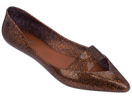 Maisie waterproof flats in bronze glitter