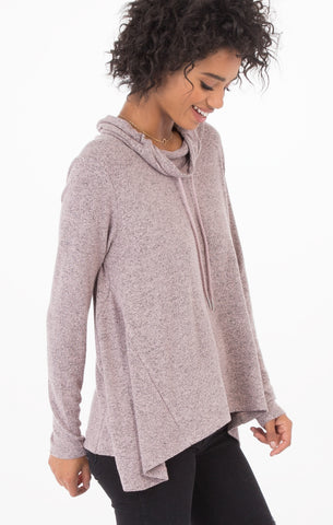 Marled cowl neck sweater in silver pink
