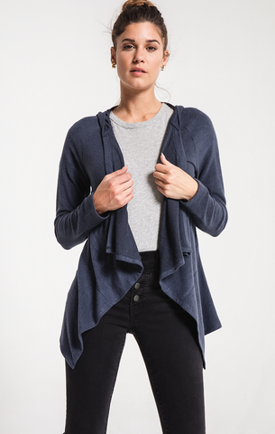 Marled hooded waterfall cardigan in indigo blue