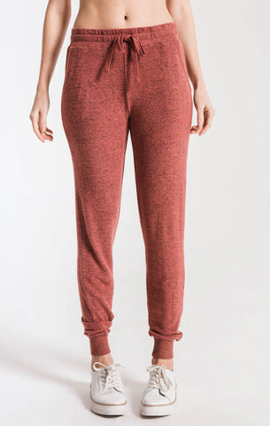 Marled jogger pants in mesa red