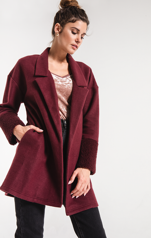 Maxi sherpa cardigan in midnight berry