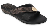 Mellie black & rose gold sandals
