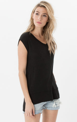 Mia linen tunic tee in black