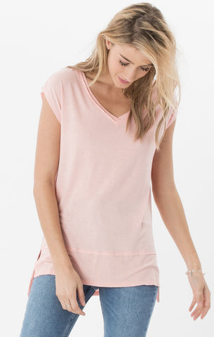 Mia linen tunic tee in peach