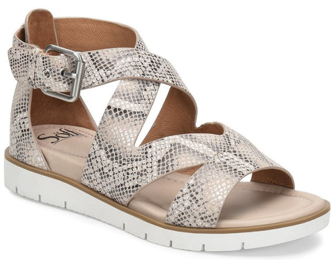 Mirabelle leather snake sandals in nude