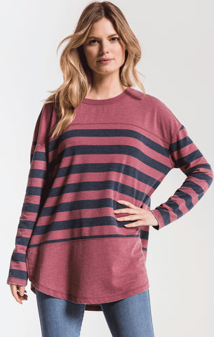 Modern stripe long sleeve top in crushed berry/navy