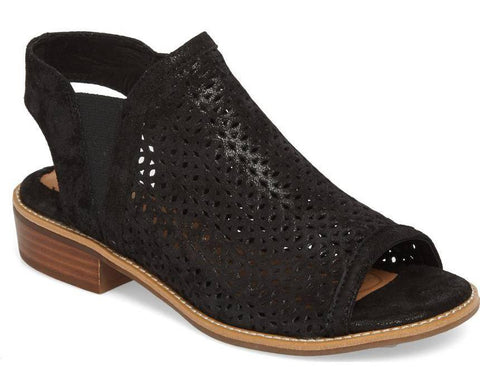 Nalda perforated sandals in black metallic