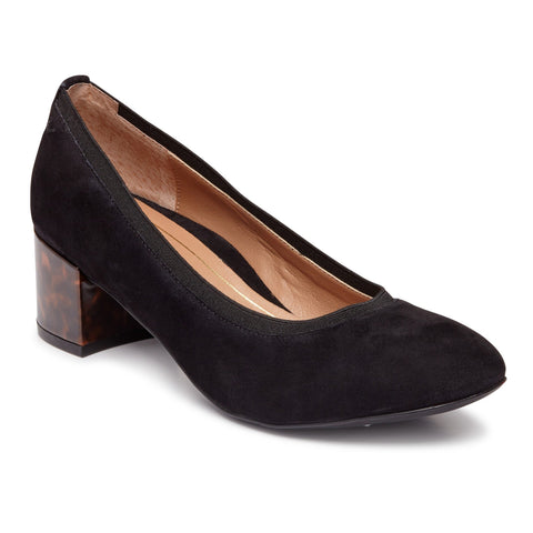 Natalie block heel in black/tort