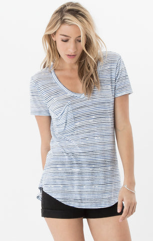 Short sleeve nautical stripe pocket tee in navy