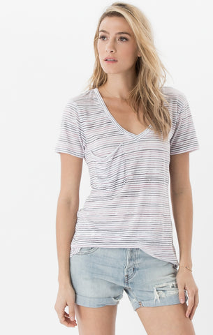 Short sleeve nautical stripe pocket tee in blossom rose