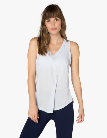 In the deep v-neck tank in rainwash