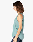 In the deep v-neck tank in true teal
